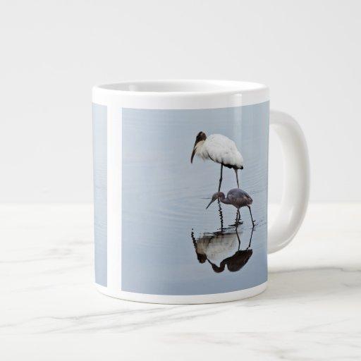 Wood Stork and Blue Heron Wading Extra Large Mugs