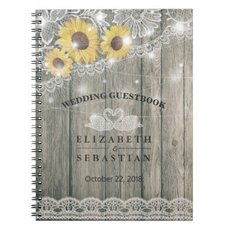 Wood Sunflower Lace String Light Wedding Guestbook Notebook
