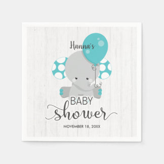 Wood & Teal Elephant Gender Neutral Baby Shower Disposable Napkins