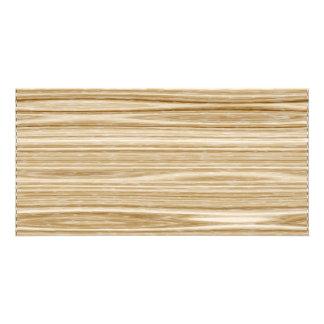 wood texture customized photo card