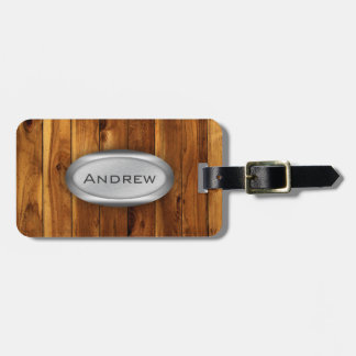 Wood Texture Pattern Metallic Nameplate Luggage Tag