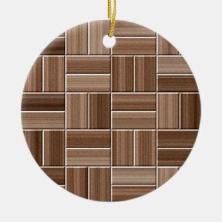 Wood texture round ceramic decoration