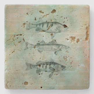 Wood Textured Look Fish Design Stone Coaster