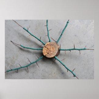 Wood Thorn & Aqua Blue Green Jute Sculpture Center Poster