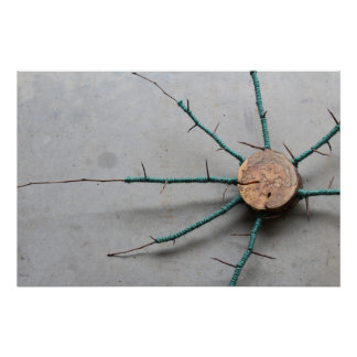 Wood Thorns & Aqua Blue Green Jute Sculpture Right Poster