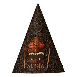 Wood Tiki Mask Vintage Retro ALOHA Birthday Party Party Hat