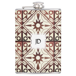 Wood Tones Geometric Hip Flask