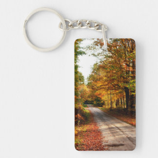 Wood trail with fall foliage Double-Sided rectangular acrylic key ring