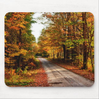Wood trail with fall foliage mouse mat
