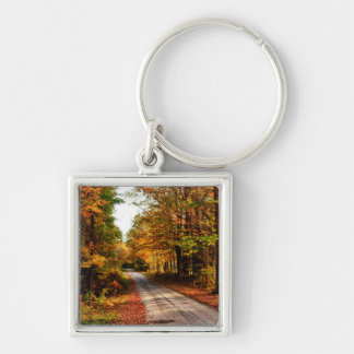 Wood trail with fall foliage Silver-Colored square key ring