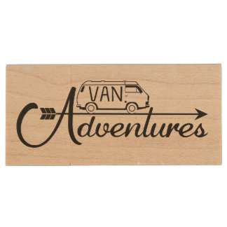 Wood USB Key Van Adventure Wood USB Flash Drive