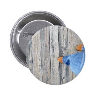 Wood Walking Pinback Button