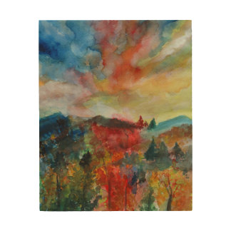 Wood Wall Art Autumn Landscape Watercolor Drawing