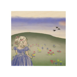 Wood wall art, little girl wood canvases