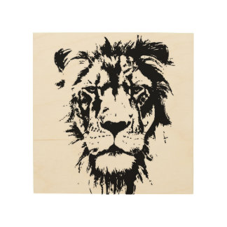 Wood wall art with a black and white print Lion