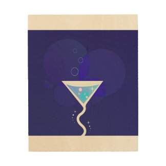 Wood wall art with Martini cocktail