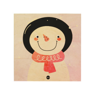 Wood wall Art : with Snowman