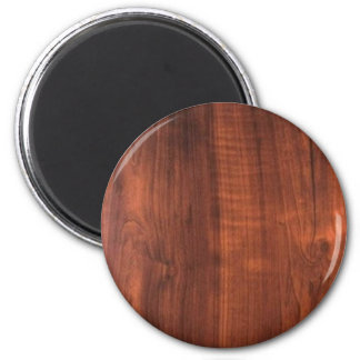 Wood WALNUT finish BUY BLANK Blanc Blanche + TEXT 6 Cm Round Magnet