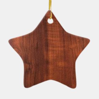 Wood WALNUT look ceramic Blanc Blanche + TEXT Ceramic Star Decoration