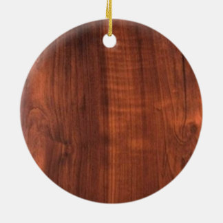 Wood WALNUT look ceramic Blanc Blanche + TEXT Christmas Ornament