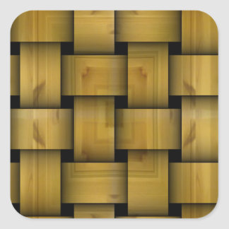 Wood weave pattern square sticker
