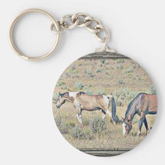 Wood window horses 2 basic round button key ring