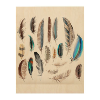 Wood with feathers : exclusive Edition Wood Wall Art