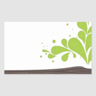 Wood with green leaf rectangle stickers