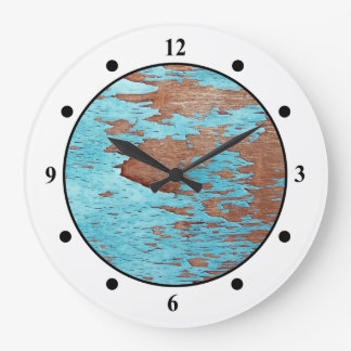 Wood with Peeling Blue Paint Wallclock