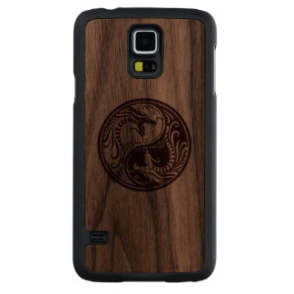 Wood Yin Yang Dragons Carved Walnut Galaxy S5 Case
