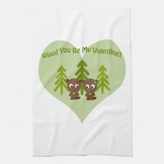 Wood You Be My Valentine Tea Towel