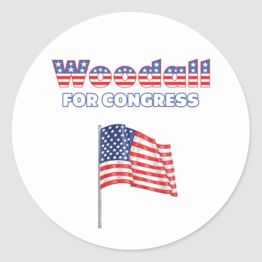 Woodall for Congress Patriotic American Flag Round Stickers