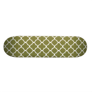 Woodbine Green White Quatrefoil Moroccan Pattern Custom Skateboard