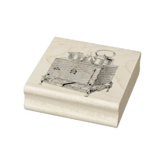 Woodburning Kitchen Stove Vintage Rubber Art Stamp