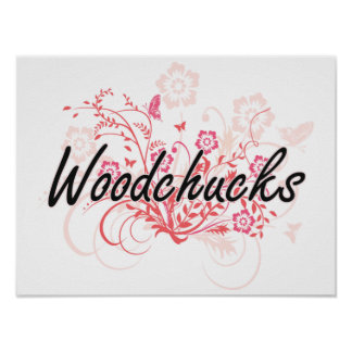 Woodchucks with flowers background poster