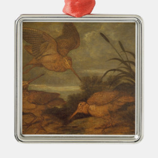 Woodcock at Dusk, c.1676 (oil on canvas) Silver-Colored Square Decoration