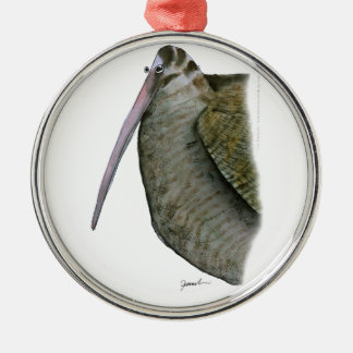 woodcock bird, tony fernandes Silver-Colored round decoration