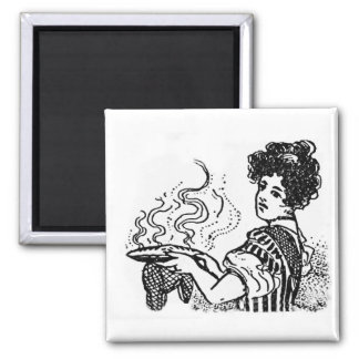 Woodcut Cook Square Magnet
