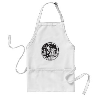 Woodcut Cratered Moon Standard Apron