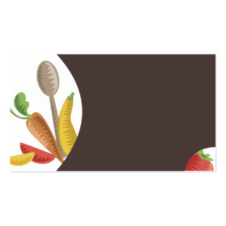 woodcut culinary mixing spoon veggies business car pack of standard business cards