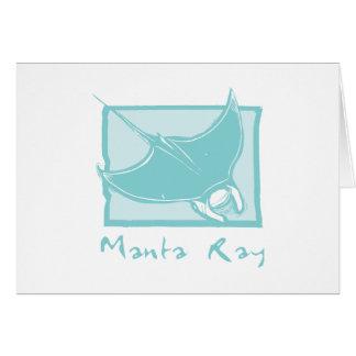 Woodcut Manta Ray Greeting Card