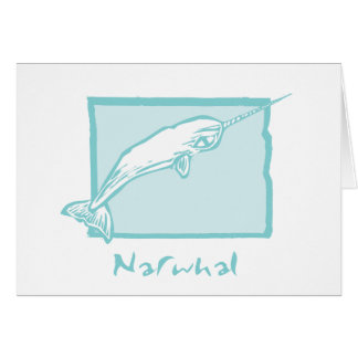 Woodcut Narwhal Card