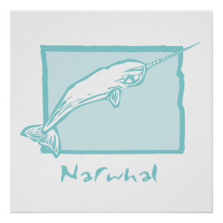 Woodcut Narwhal Poster