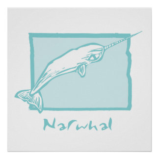 Woodcut Narwhal Posters