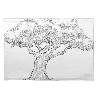 Woodcut sketch Style Tree Placemat