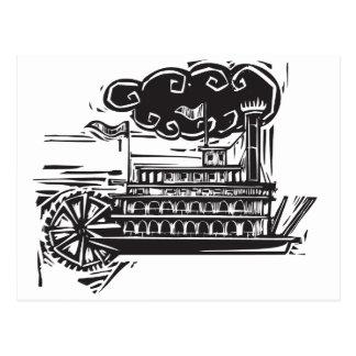 Woodcut Stern wheel Riverboat Postcard