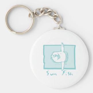Woodcut Sunfish Basic Round Button Key Ring