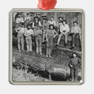 Woodcutters in California, 1891 Christmas Ornament