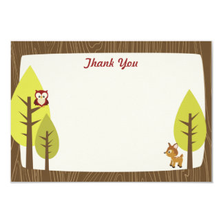 Wooded Baby Shower Flat Thank You Card 9 Cm X 13 Cm Invitation Card