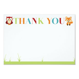 Wooded Baby Shower Thank You Card 9 Cm X 13 Cm Invitation Card